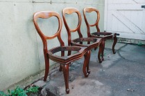 three restored victorian balloon-back chairs